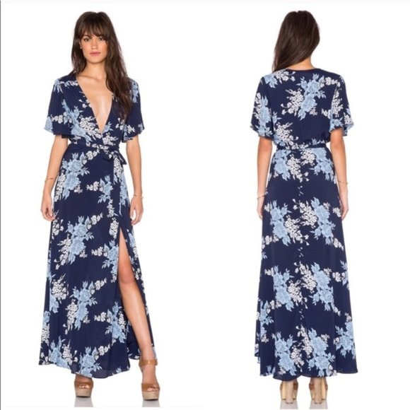 Privacy Please Dresses & Skirts - NWT Privacy Please Plaza Blue Floral Maxi Dress